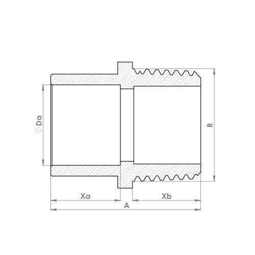 4243G Schematic - End Feed Male Adaptor