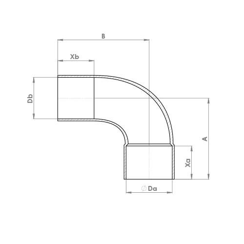 5001a Schematic - End Feed Long Radius Street Elbow