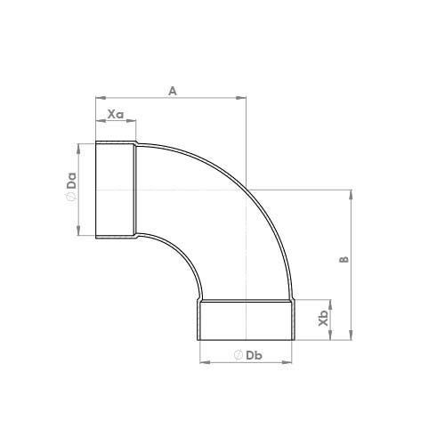 5002a Schematic - End Feed Long Radius Elbow