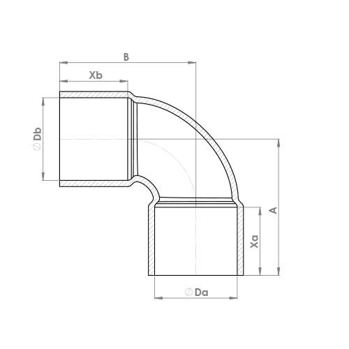 5090 Schematic - End Feed Equal Elbow