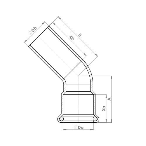 6040M Schematic - Copper Press 45 Deg Street Elbow