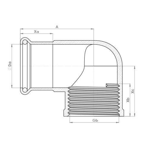 6090GM Schematic - Copper Press Female Elbow