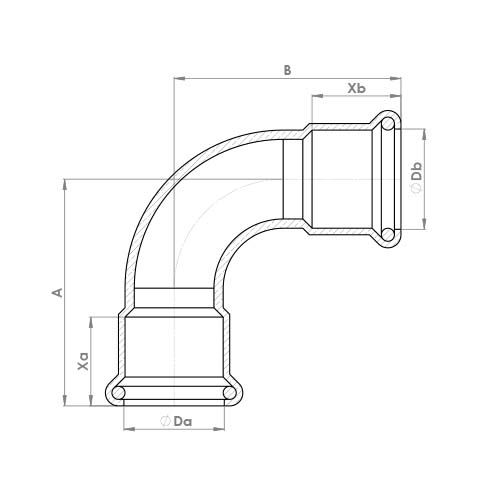 6090M Schematic - Copper Press Equal Elbow