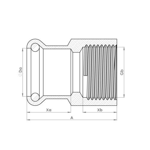 6270GM Schematic - Copper Press Female Adaptor