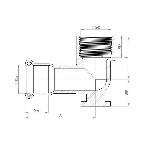 6472GM Schematic - Copper Press Wallplate Elbow