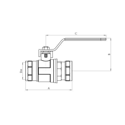 711 Schematic - Lever Arm Compression Ball Valve