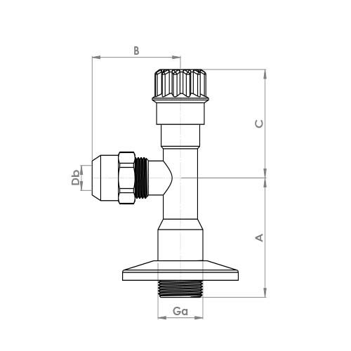 "AV105 Schematic - 1/2"" x 3/8"" (with 10mm nut) Chrome Angle Valve"