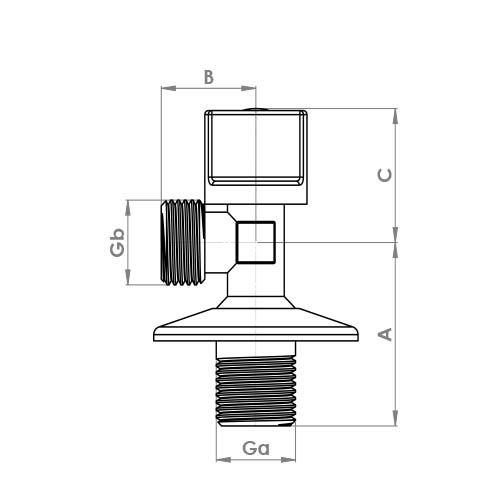 """AV106 Schematic - 1/2"""" x 1/2"""" Chrome Angle Valve"""