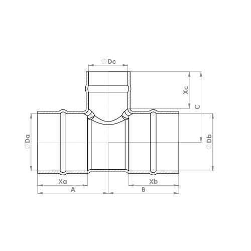 C702SR Schematic - Solder Ring Reduced Branch Tee
