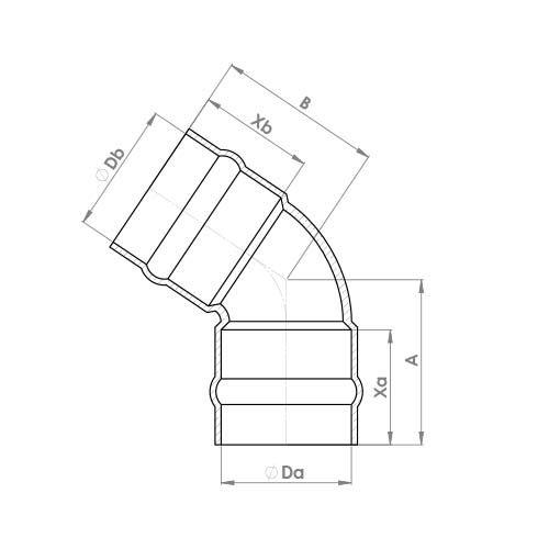 C804SR Schematic - Solder Ring 45 Deg Elbow