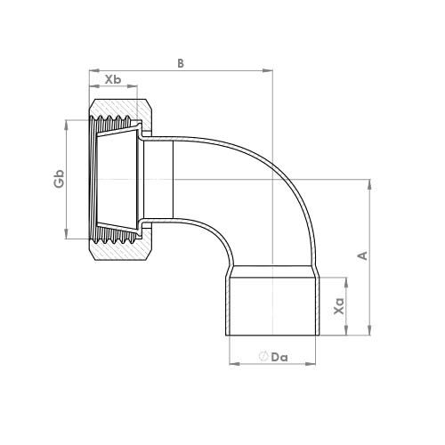 C805SCEF Schematic - End Feed Bent Cylinder Union