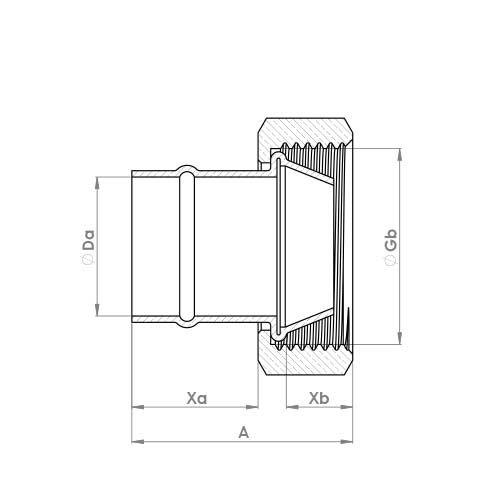 C905SCSR Schematic - Solder Ring Straight Cylinder Union