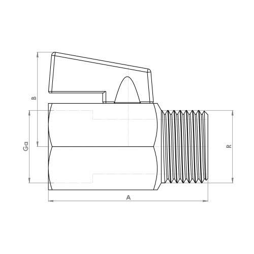 FTH4392CP Schematic - Black Handle Mini Ball Male x Female Valve