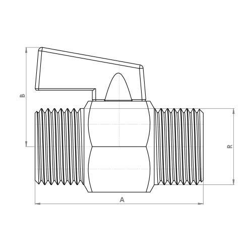 FTH4402CP Schematic - Black Handle Mini Ball Male x Male Valve