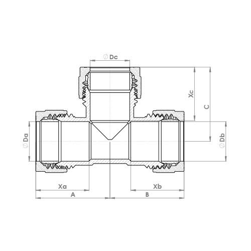 P701CP Schematic - Chrome Plated Compression Equal Tee