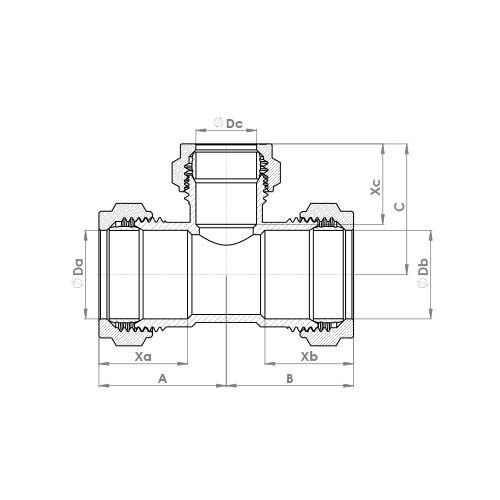 P702CP Schematic - Chrome Plated Compression Reduced Branch Tee