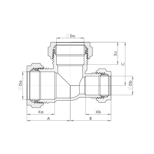 P703CP Schematic - Chrome Plated Compression Reduced End Tee
