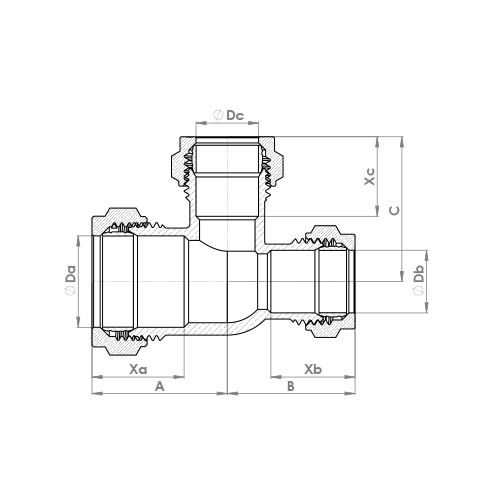 P704CP Schematic - Chrome Plated Compression Reduced End and Branch Tee