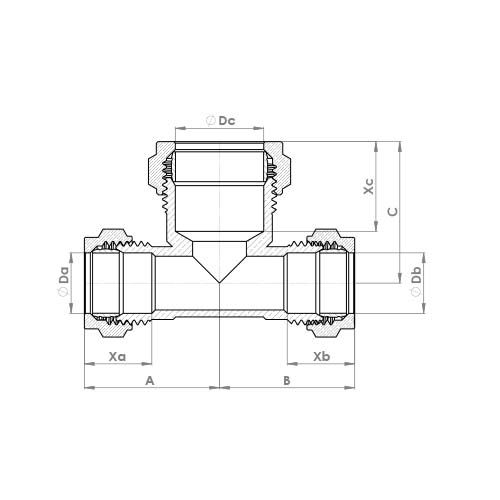P705CP Schematic - Chrome Plated Compression Reduced Both Ends Tee