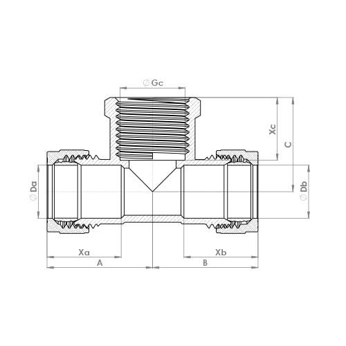 P717 Schematic - Compression Female Branch Tee