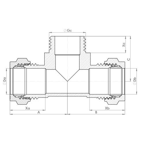 P727 Schematic - Compression Male Branch Tee