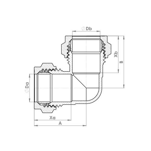 P801CP Schematic - Chrome Plated Compression Equal & Reduced Elbow