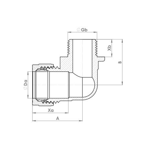 P802CP Schematic - Chrome Plated Compression Male Elbow