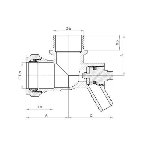 P802DO Schematic - Compression Drain off Male Elbow