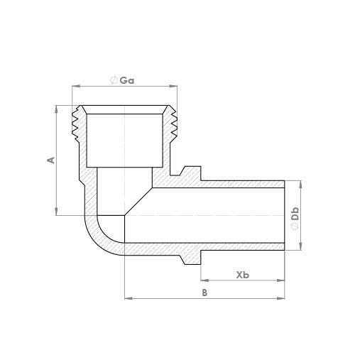 P802MI Schematic - Chrome Plated Compression Swivel Elbow