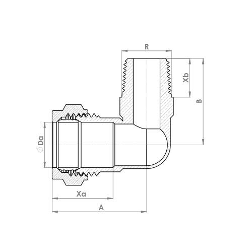 P802TCP Schematic - Chrome Plated Compression Male Taper Elbow