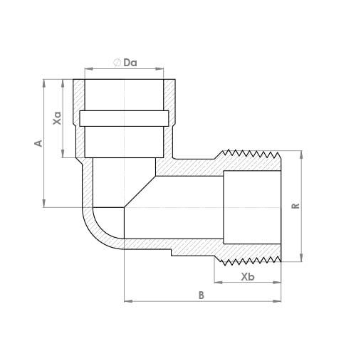 P802TDRSR Schematic - Compression Solder Ring Male Elbow