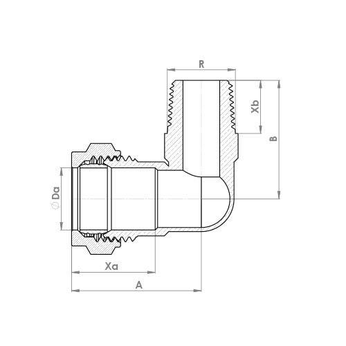 P802T Schematic - Compression Male Taper Elbow