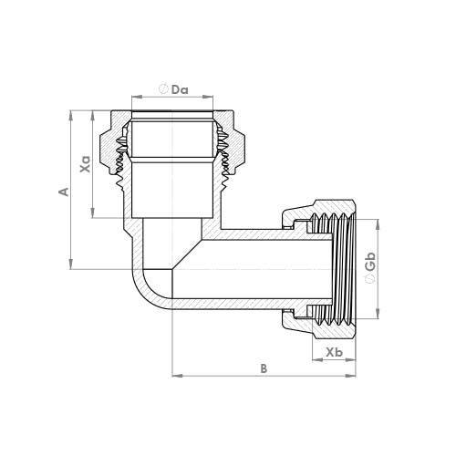 P803SF Schematic - Compression Bent Tap Swivel Elbow