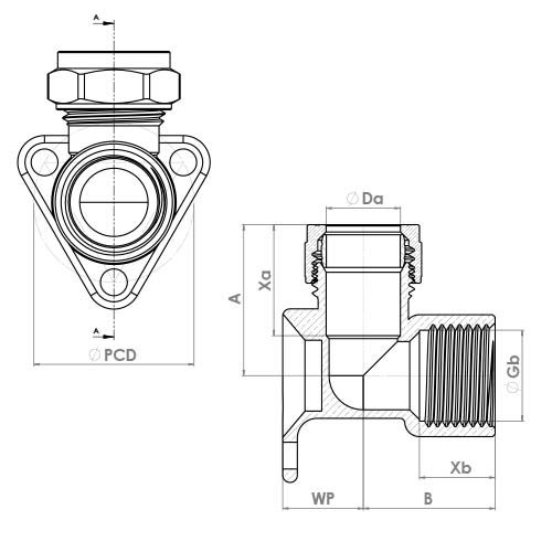 P803WPCP Schematic - Chrome Plated Compression Wallplate Elbow