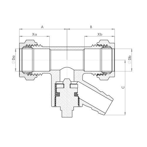 P901DO Schematic - Compression Drain off Coupling