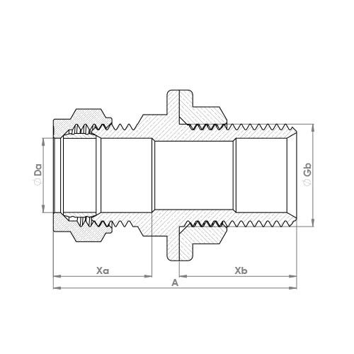 P902B Schematic - Compression Male Extended Thread