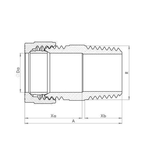 P902T Schematic - Compression Male Taper Adaptor