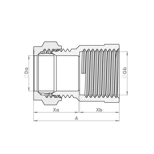 P903CP Schematic - Chrome Plated Compression Female Adaptor