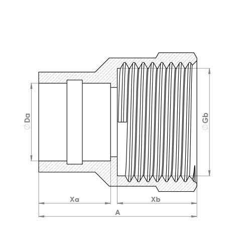P903DRSR Schematic - Compression Solder Ring Female Adaptor