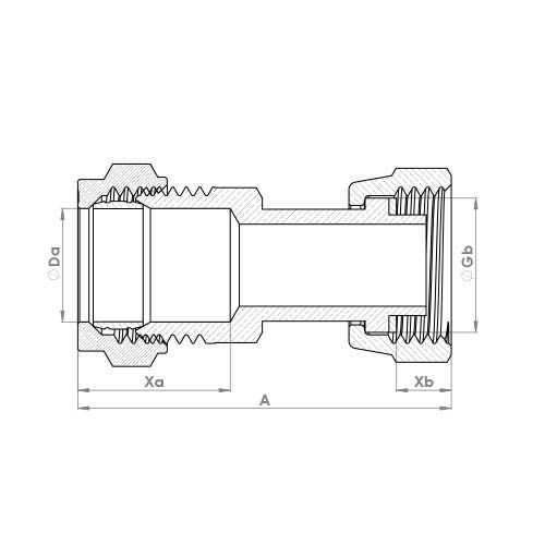 P903SFCP Schematic - Chrome Plated Compression Straight Swivel Tap Connector