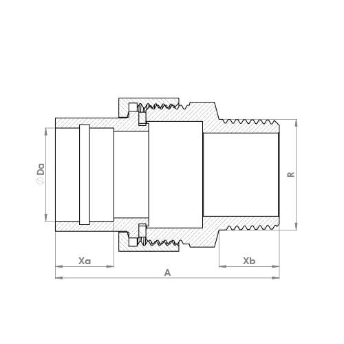 SRMUC Schematic - Solder Ring Male Union Adaptor