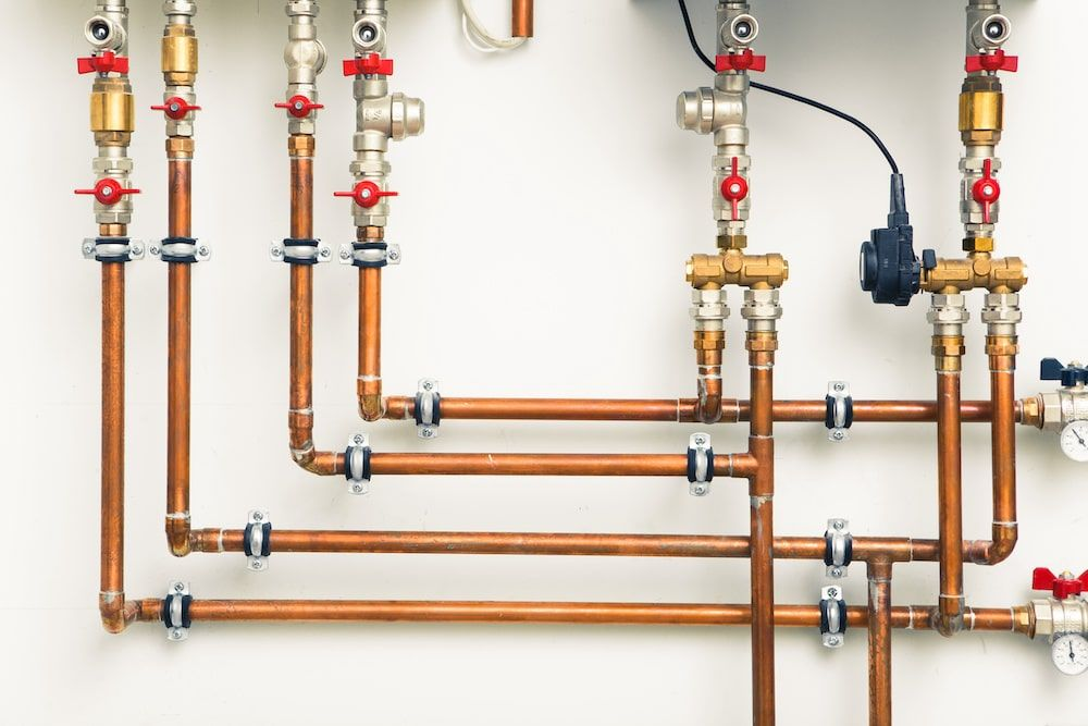 Boiler room installation with End Feed Copper fittings and other Valves