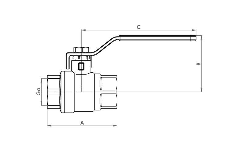 811 Schematic - Lever Arm Female Ball Valve