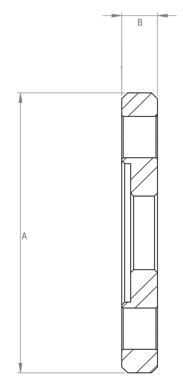 FFL5221 Schematic - End Feed PN16 BI-Metallic Flange - 4 x M12 Holes