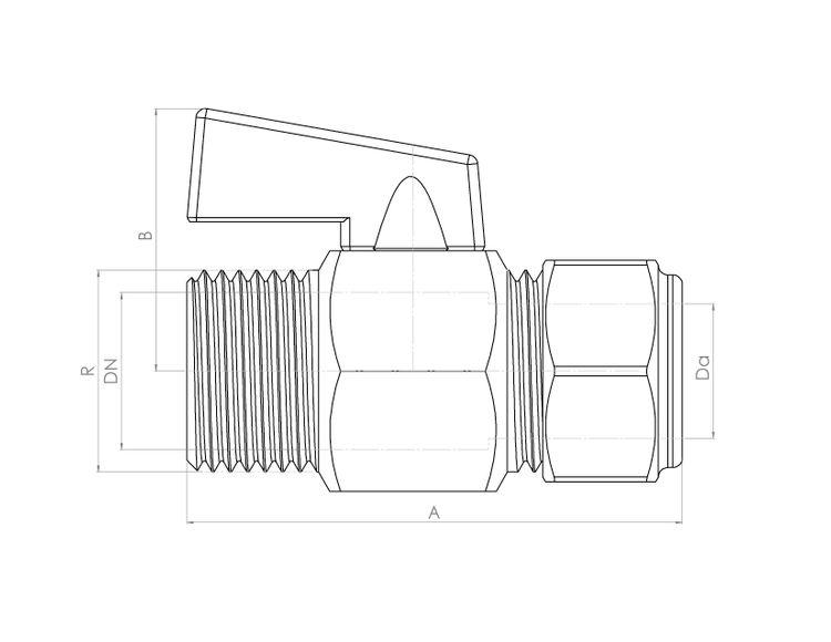 FCP4422CP Schematic - Black Handle Mini Ball Compression x Male Valve