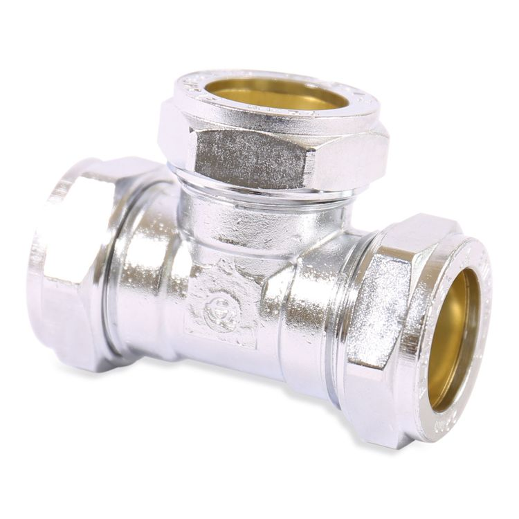 P701CP Image - Chrome Plated Compression Equal Tee