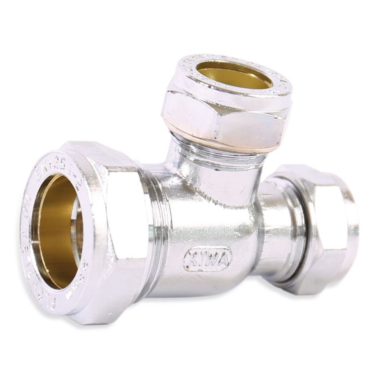 P704CP Image - Chrome Plated Compression Reduced End and Branch Tee