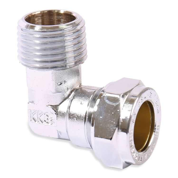 P802TCP Image - Chrome Plated Compression Male Taper Elbow