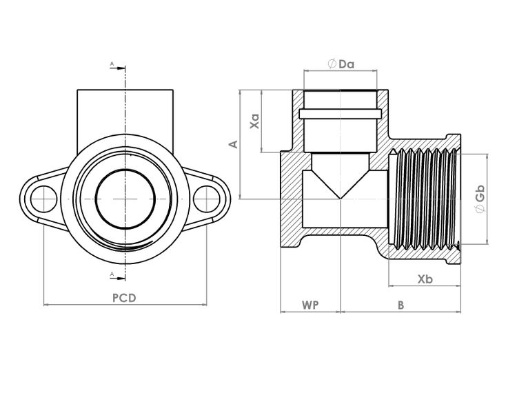 P803WPDRSR Schematic - Compression Solder Ring Wallplate Elbow
